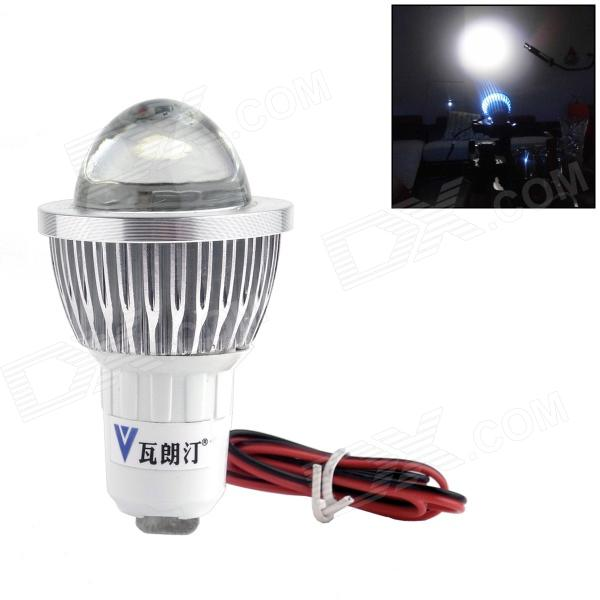 WaLangTing 3W 300lm LED Cool White Light Headlamp for Motorcycle - Silver + White (12V)
