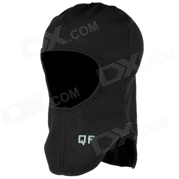 QF B11137 Outdoor Sports Cycling Warm Fleece Mask Helmet Cap for Men - Black (Free Size)