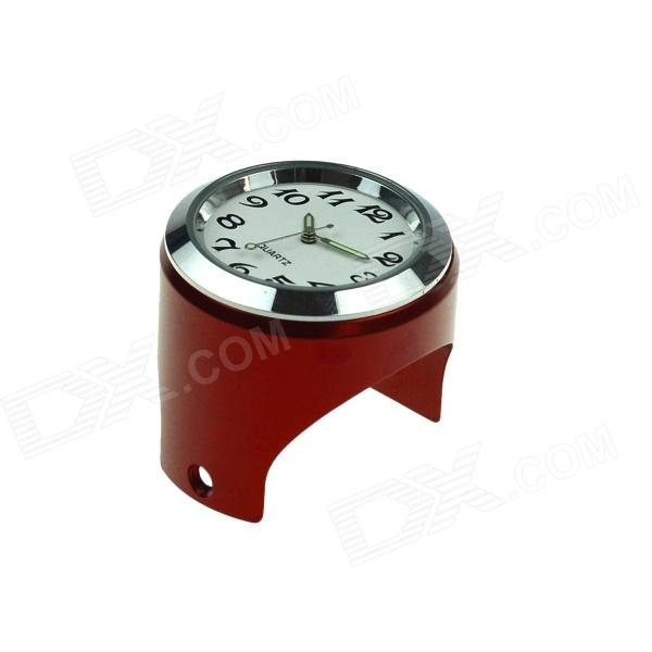 Universal Cycling Bicycle Mounted Mini Aluminium Alloy Clock Watch - White + Red + Silver