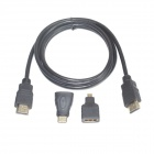 ULT-unite 4012-1180 3-in-1 HDMI Male to Male Cable + Micro HDMI / Mini HDMI Adapters - Black (1.5m)