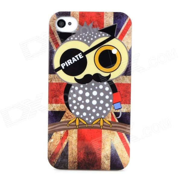UK National Flag Style Owl Pattern Protective Back Case for Iphone 4 / 4s - White + Red + Multicolor цена и фото