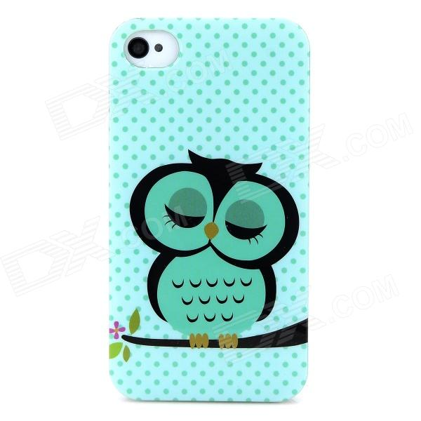 Cartoon Owl Style Protective PC Back Case for Iphone 4 / 4s - Light Green ziqiao cute cartoon cat style protective soft silicone back case for iphone 4 4s mint green
