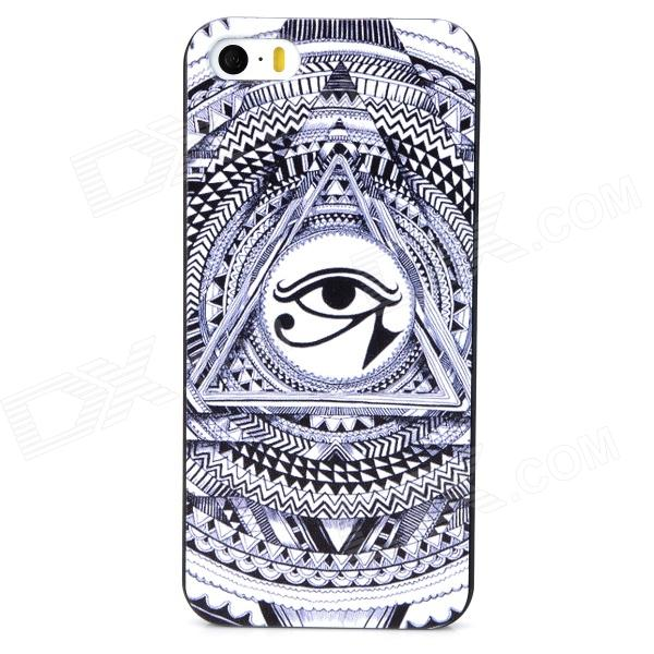 YJ-01 Cool Eye Pattern Protective Plastic Back Case for Iphone 5S - Black + White 3 in 1 fish eye macro wide angle clip lens white black