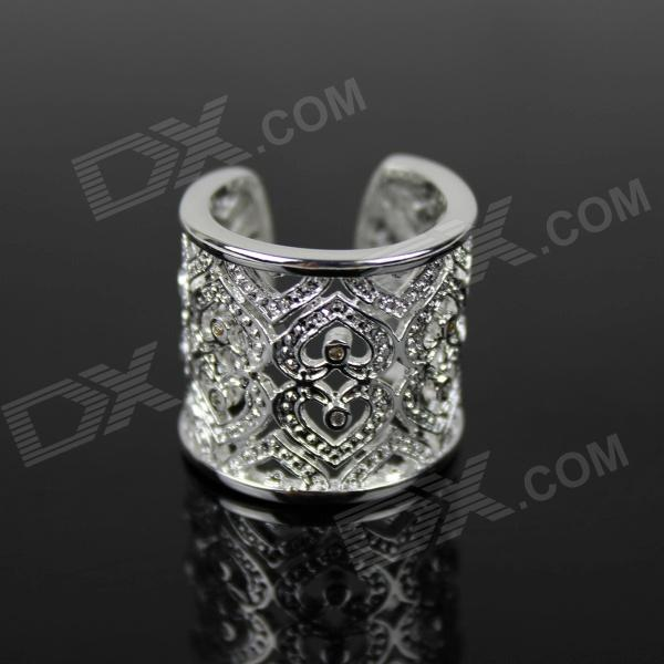 925 Silver Heart-Shaped Pattern Ring - Silver rigant heart shaped crystal women s ring sapphire blue silver