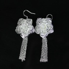 925 Silver Beautiful Rose Earrings - Silver