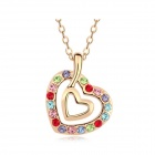 Austrian Crystal Heart Touching Necklace - Golen + Multicolored