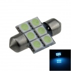Festoon 31mm 0.5W 60lm 6 x SMD 5050 LED Ice Blue Light Car Reading / Indicator / Roof Lamp - (12V)