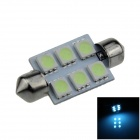 Festoon 39mm 0.5W 60lm 6 x SMD 5050 LED Ice Blue Light Car Reading / Indicator / Roof Lamp - (12V)