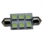 Festoon 39mm 0.5W 60lm 6 x SMD 5050 LED Ice Blue Light Car Lectura / Indicador / techo Lamp - (12V)