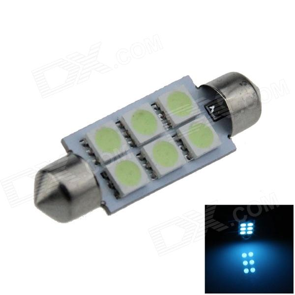Luz Interna para carro Azul Gelo LED Festoon 41 mm 0.5W 60lm 6 x SMD 5050 - (12V)