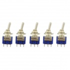 Jtron DIY Toggle Switch / 102 Single Joint / 6-Pin ON-ON - Silver + Blue (5-Piece Pack)