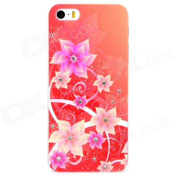 XH-01 Flower Style Protective Plastic Back Case for Iphone 5S - Red + Light Yellow