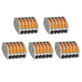 Jtron Building Universal Terminal Block / Quick Connector 5 Holes / Wire Connector - Grey (5 PCS)