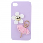 Stylish Ballerina & Flower Style Protective Plastic Case for Iphone 4 / 4s - Pink