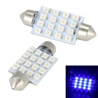 Merdia Festoon 42mm 5W 350lm 16 x SMD 3528 LED Blue Car Reading Lamp / Brake Light - (12V / 2 PCS)