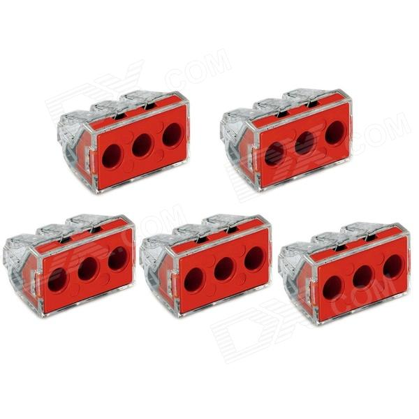 Jtron Construction Electrician Renovated Wiring / 3 Hole Wire Connector - Red + Transparent (5 PCS) empty 2 5 6 flat wire connector hard wire junction box terminals renovated our current air conditioning connector