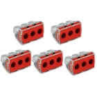 Jtron Construction Electrician Renovated Wiring / 3 Hole Wire Connector - Red + Transparent (5 PCS)