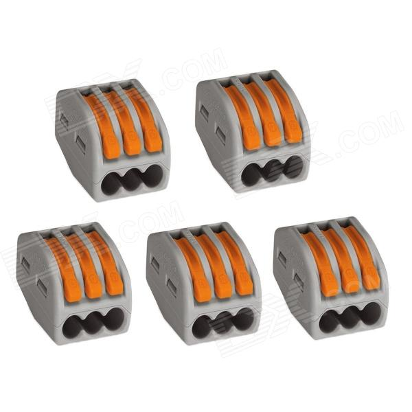 Jtron Building Universal Terminal Block Quick Connector 3 Holes Divided Into Circuit - Grey (5 PCS)