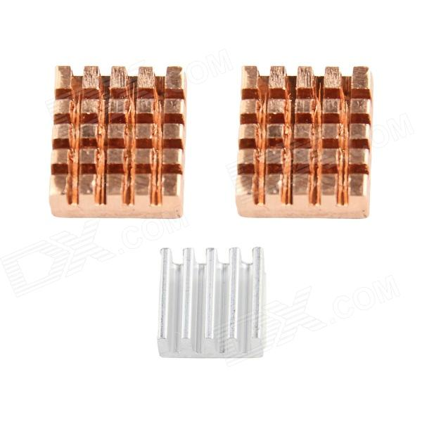 Heat Sink Kit for Raspberry PI - Red Copper + Silver (3 PCS, 2 x Copper, 1 x Aluminum)