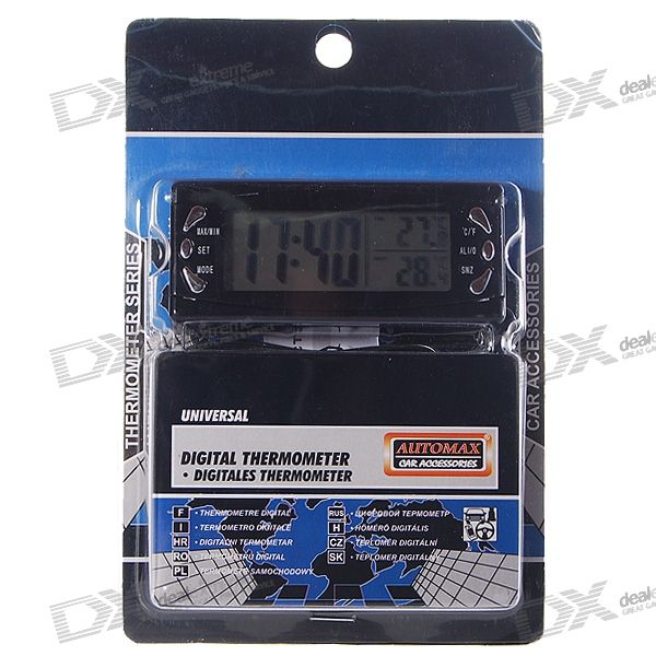 Digital Compact LCD Thermometer + Clock with Outdoors Remote Sensor 3 in1 digital car thermometer voltmeter auto indoor outdoor temperature voltage meter alarm clock blue orange backlight 40%off