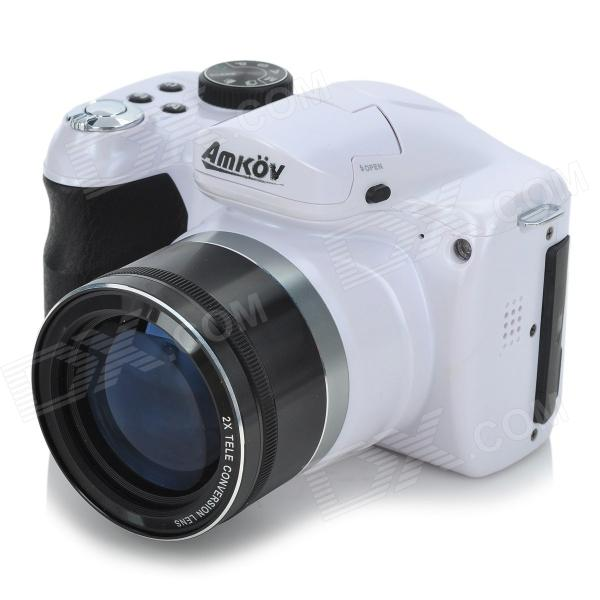 AMKOV CD-R6 3.0 TFT 16MP CMOS 15X Optical Zoom Digital Camera w/ SD Slot / Mini USB - White+black 5 0mp digital video camcorder w 4x digital zoom motion detection hdmi sd slot 2 5 tft lcd