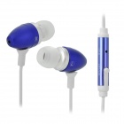 Universal 3.5mm In-Ear Earphone w/ Microphone / Cable Control - White + Blue