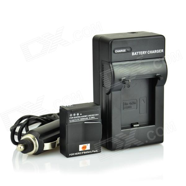 DSTE 1600mAh AHDBT-302 Li-ion Battery & adaptador & carregador Car Kit para GoPro HD herói 3+ - Black