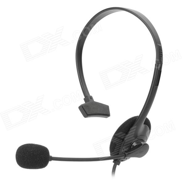 USB 2.0 Single Headphone w/ Microphone for Computer - Black vykon me777 usb computer headphone w microphone black red