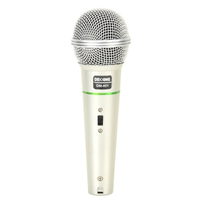 DM-401 6.35mm Wired Dynamic Microphone for Meeting / Speech / Karaoke OK - Silver