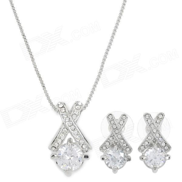18K Gold-plated + Zircon + Czech Stones Pedant Necklace + Stud Earrings - Silver (3 PCS) coco perla 1696