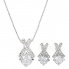 18K Gold-plated + Zircon + Czech Stones Pedant Necklace + Stud Earrings - Silver (3 PCS)