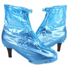 Water Resistant Silicone Women's Shoe Covers w/ Sipper / Anti-Slip Pad - Blue (Pair)