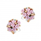 EQute EOTW1C6 Beautiful White Rhinestones Flower-shaped Ear Studs - Purple