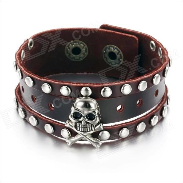 PH776 Rivet Skull  Personality Genuine Cow Leather Men's Bracelet - Brown