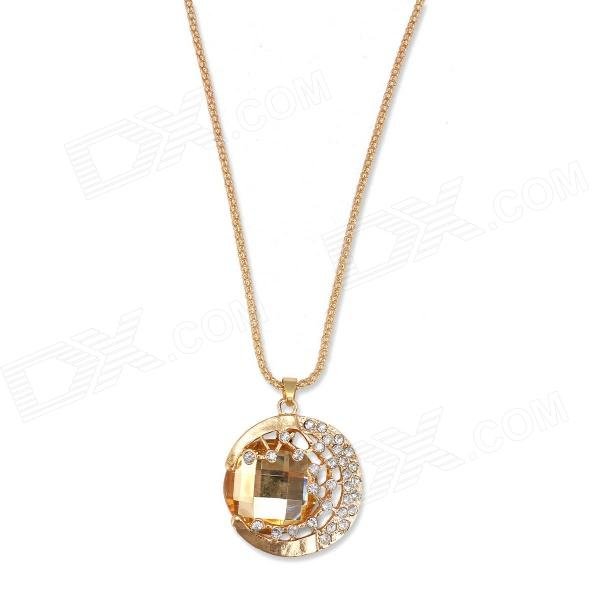 EQute PPEW8C3 Fashion White Rhinestones Golden Acrylic Pendant Sweater Necklace (24 Chain) equte vintage golden flower pendant artificial pearl necklace white golden
