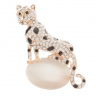 Fashionable and Elegant Leopard Style Czech Diamond Decoration Women's Brooch - Golden + Black