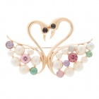 Elegant Swan Style Pearl + Rhinestone Decoration Brooch - Golden + White + Colorful