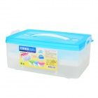 Dual-Layer Plastic Shock-Proof Fresh Egg Storage Box - White + Blue