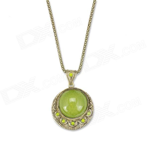 eQute PPEW13C8 Vintage Green Pendant Long Necklace - Silver + Green (27