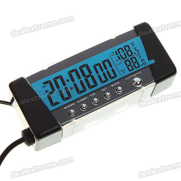 Digital Compact LCD Thermometer + Clock/Date with Outdoors Remote Sensor