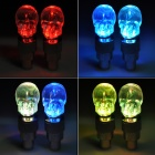 Skull Head Style Motorcycle Bicycle Car Wheel Air Valve LED RGB Lights (2 PCS)