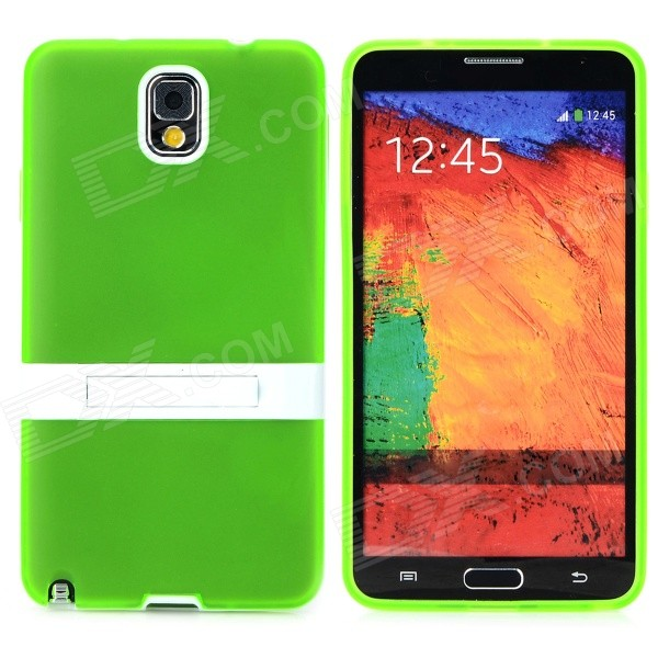 Protective TPU Silicone Back Case w/ Stand for Samsung Galaxy Note 3 - Green pannovo silicone shockproof fallproof dustproof case for samsung galaxy note 3 camouflage green