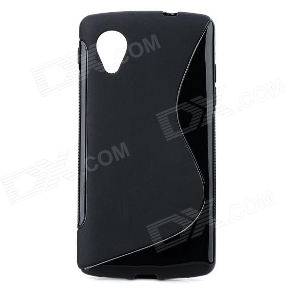 S Style Anti-Slip Protective TPU Back Case for LG Nexus 5 E980 / D820 - Black s style protective tpu pc back case w stand for lg nexus 5 black transparent