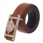 Fashionable Rattan Texture Second Layer Cowhide Men's Waist Belt w/ Zinc Alloy Buckle - Brown