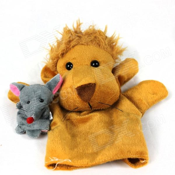 Cute Puzzle Finger Sleeve Lion + Mouse Toy Doll - Yellow + Grey