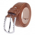 Fashionable Snake Texture Second Layer Cowhide Leather Men's Waist Belt w/ Zinc Alloy Buckle- Brown
