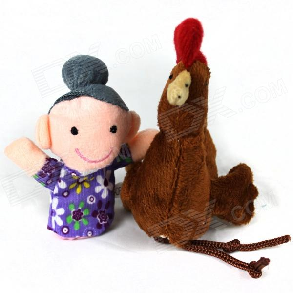 Cute Puzzle Finger Sleeve Woman + Hen Toy Doll - Brown + Grey