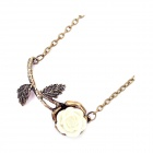 A Spray of Flowers Sweater Chain - Brass + White