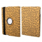 360 Degree Rotation Leopard Pattern Protective PU Leather + PC Case Cover Stand for Ipad AIR - Brown