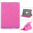 360 Degree Rotation Leopard Pattern Protective PU Leather Case Cover Stand for Ipad AIR - Deep Pink